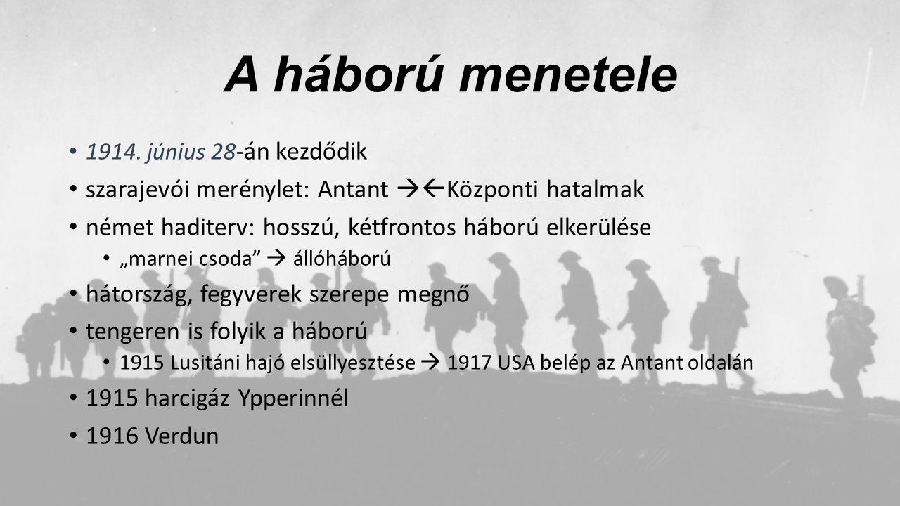 A háború menetele szarajevói merénylet: Antant Központi hatalmak