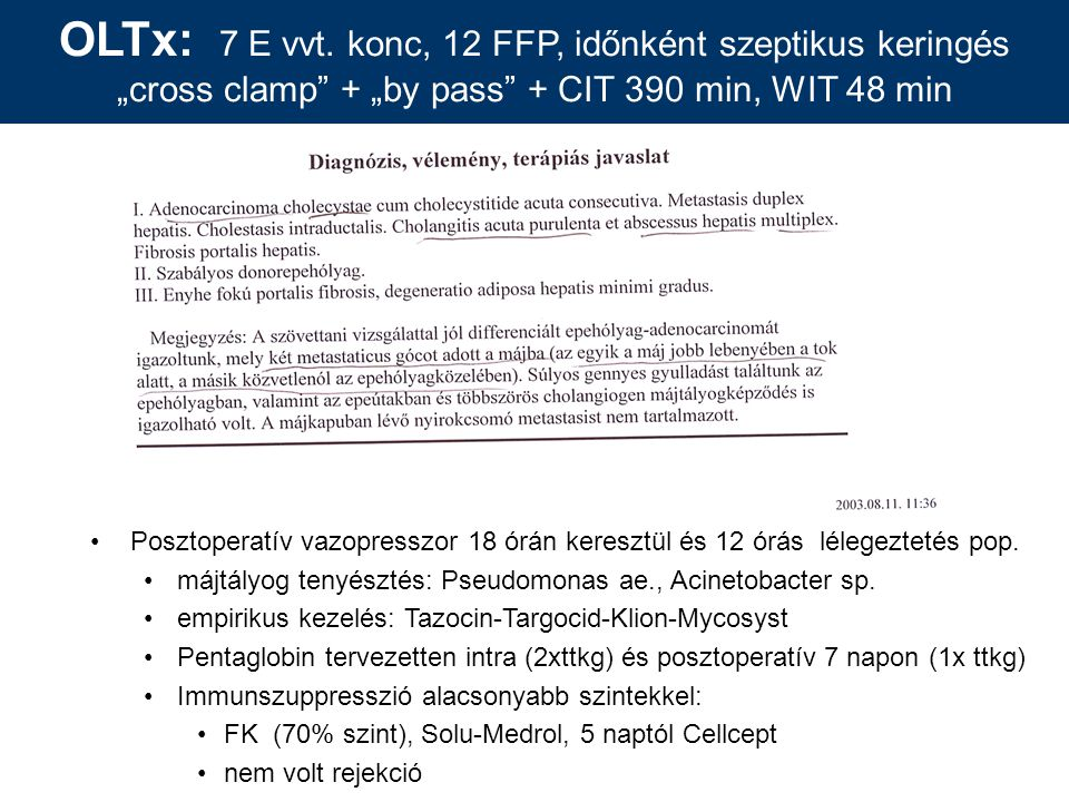 "OLTx: 7 E vvt. konc, 12 FFP, időnként szeptikus keringés ""cross clamp + ""by pass + CIT 390 min, WIT 48 min"