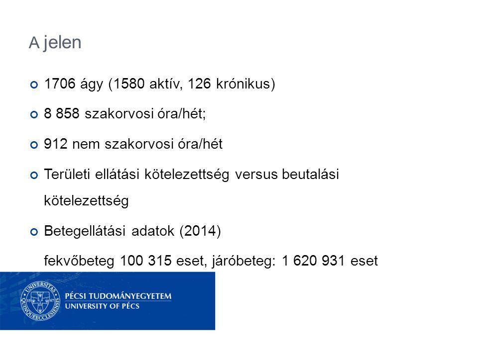 A jelen 1706 ágy (1580 aktív, 126 krónikus) 8 858 szakorvosi óra/hét;