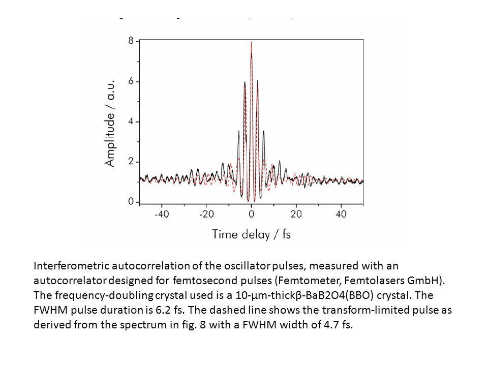 Interferometric autocorrelation of the oscillator pulses, measured with an autocorrelator designed for femtosecond pulses (Femtometer, Femtolasers GmbH).