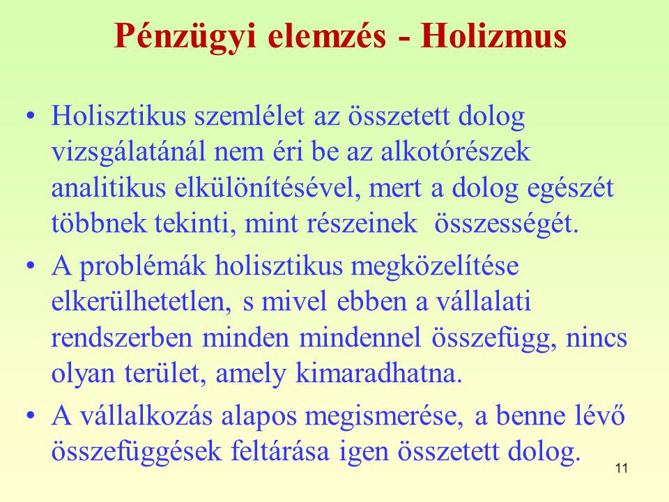 Pénzügyi elemzés - Holizmus