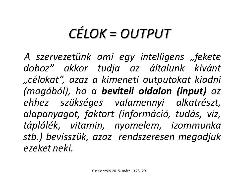 CÉLOK = OUTPUT