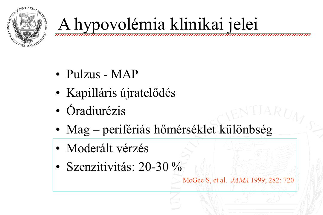 A hypovolémia klinikai jelei
