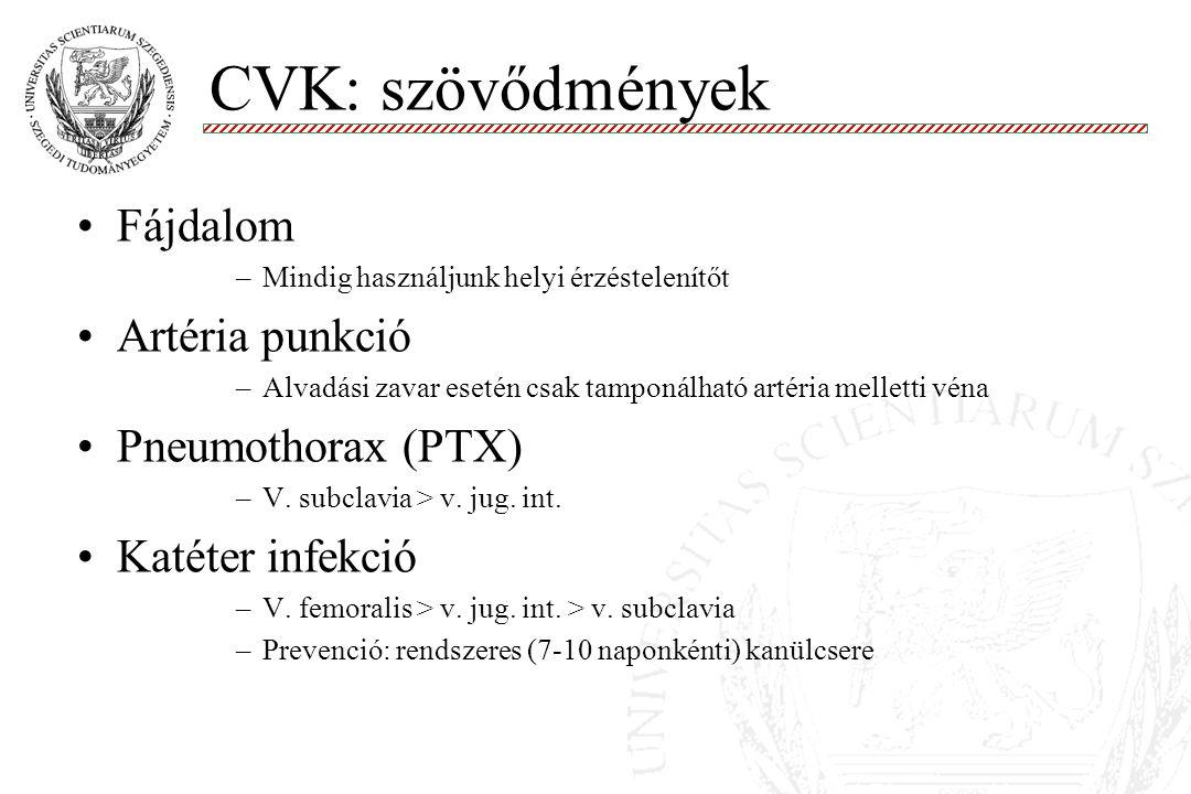 CVK: szövődmények Fájdalom Artéria punkció Pneumothorax (PTX)