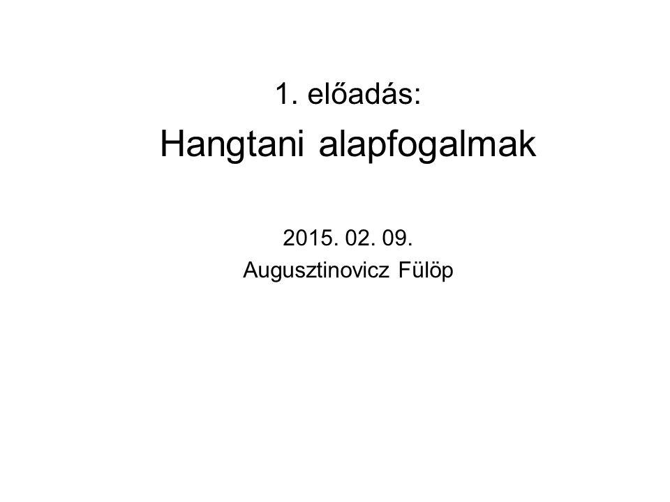 előadás: Hangtani alapfogalmak 2015. 02. 09. Augusztinovicz Fülöp