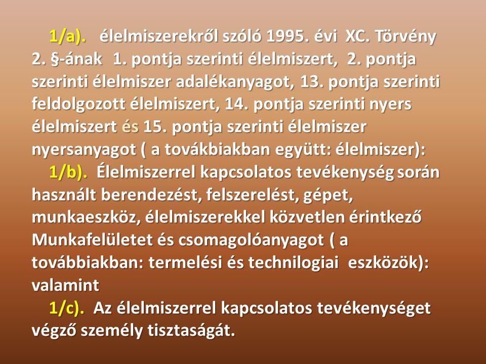 1/a). élelmiszerekről szóló 1995. évi XC. Törvény