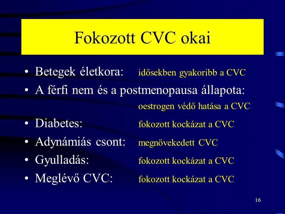 Fokozott CVC okai Betegek életkora: idősekben gyakoribb a CVC