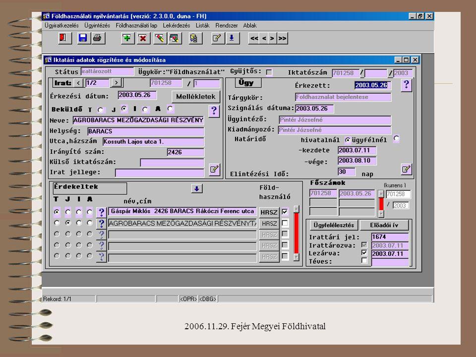 2006.11.29. Fejér Megyei Földhivatal