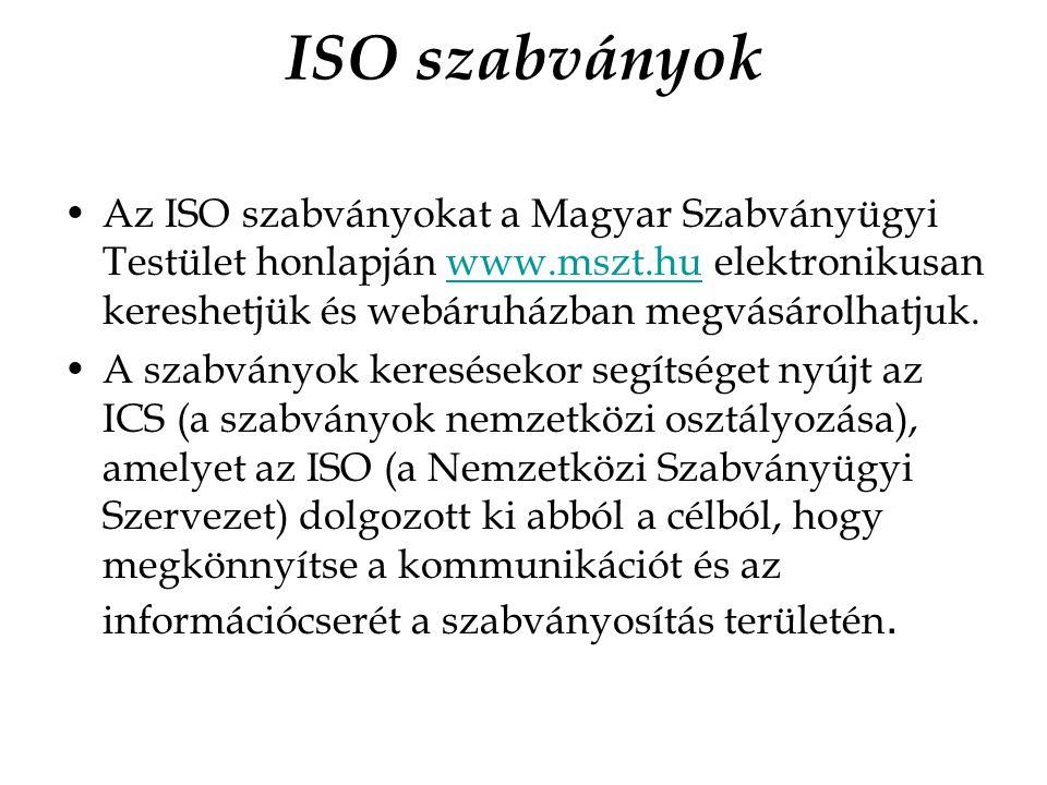 ISO szabványok Az ISO szabványokat a Magyar Szabványügyi Testület honlapján www.mszt.hu elektronikusan kereshetjük és webáruházban megvásárolhatjuk.
