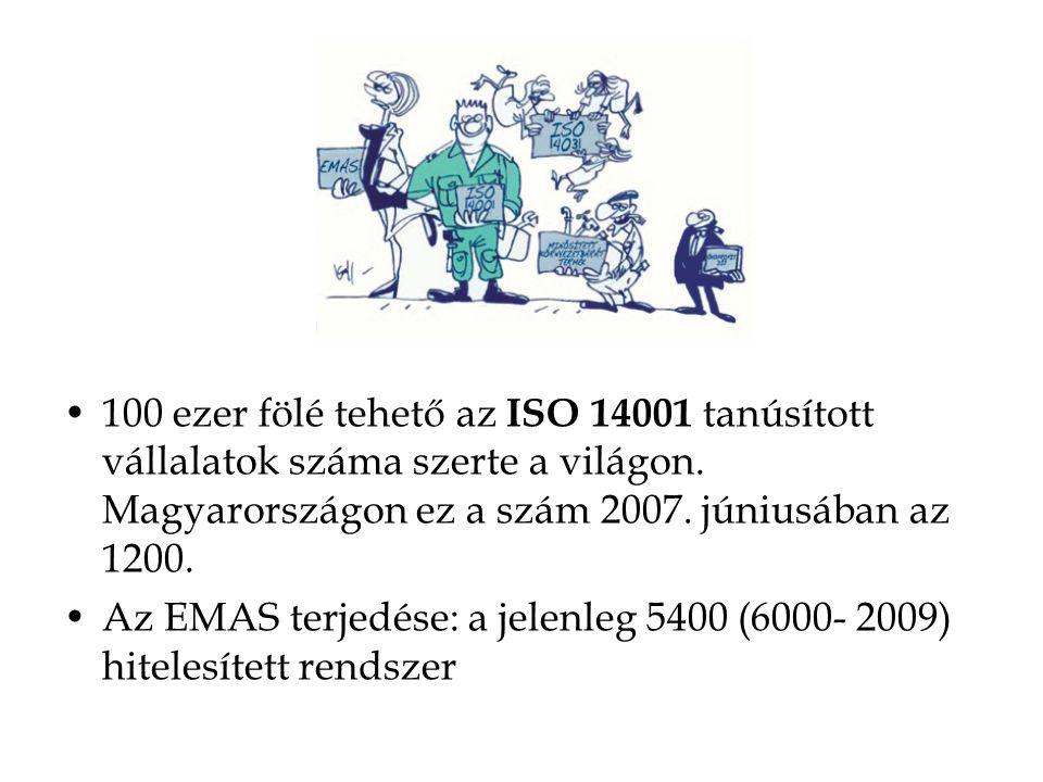 100 ezer fölé tehető az ISO 14001 tanúsított vállalatok száma szerte a világon. Magyarországon ez a szám 2007. júniusában az 1200.