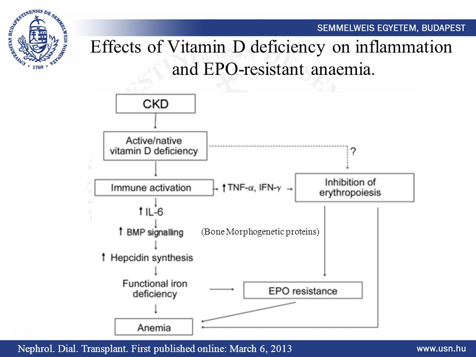 Effects of Vitamin D deficiency on inflammation and EPO-resistant anaemia.