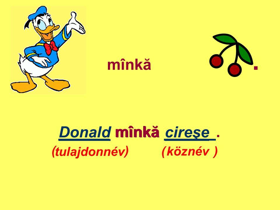 mînkă . ______ mînkă _____ . Donald mînkă cireşe ( ) tulajdonnév ( )