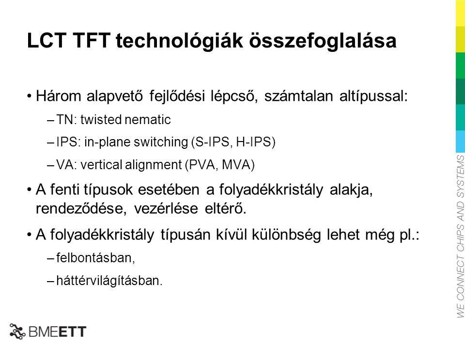 LCT TFT technológiák összefoglalása