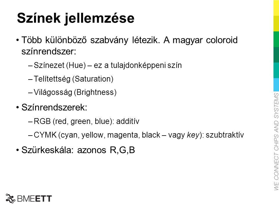 Színek jellemzése Több különböző szabvány létezik. A magyar coloroid színrendszer: Színezet (Hue) – ez a tulajdonképpeni szín.