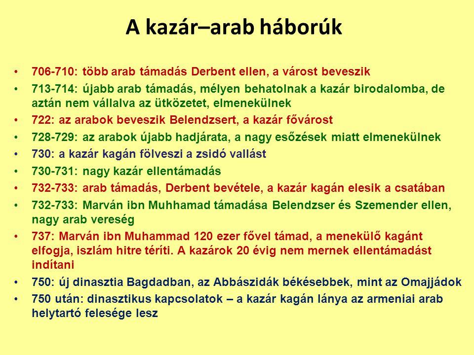 A kazár–arab háborúk 706-710: több arab támadás Derbent ellen, a várost beveszik.