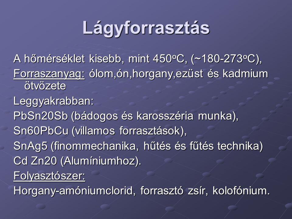 Lágyforrasztás A hőmérséklet kisebb, mint 450oC, (~180-273oC),