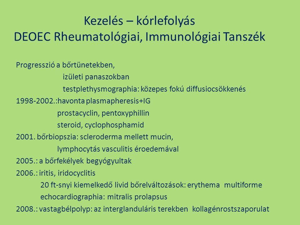 Kezelés – kórlefolyás DEOEC Rheumatológiai, Immunológiai Tanszék