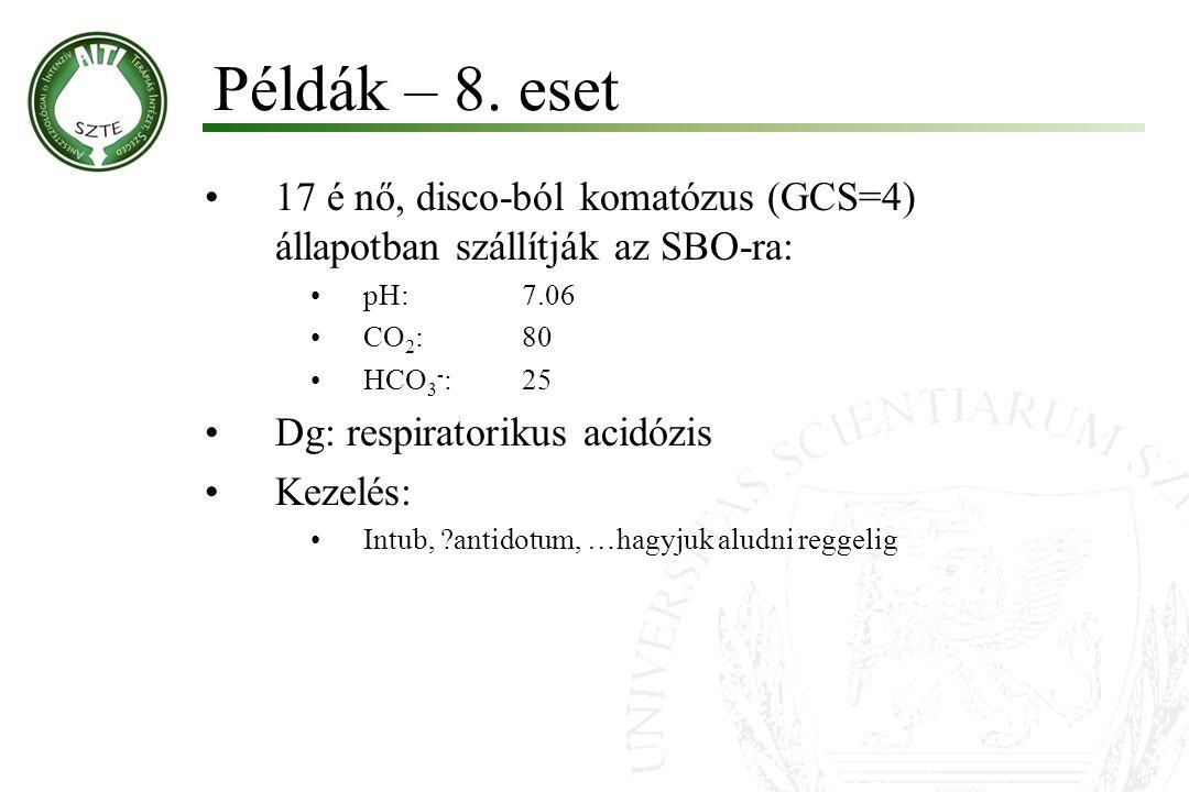 Példák – 8. eset 17 é nő, disco-ból komatózus (GCS=4) állapotban szállítják az SBO-ra: pH: 7.06. CO2: 80.