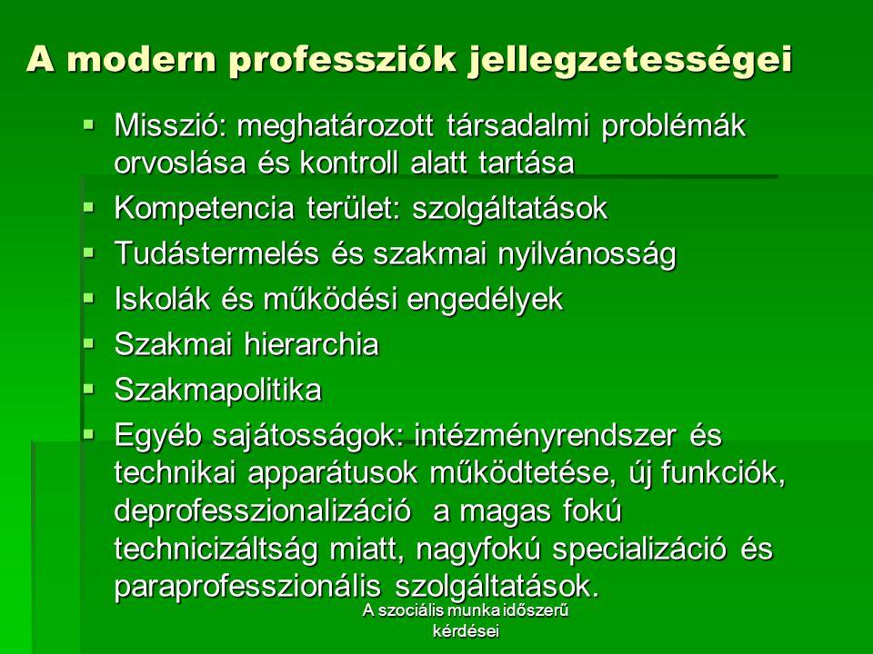 A modern professziók jellegzetességei
