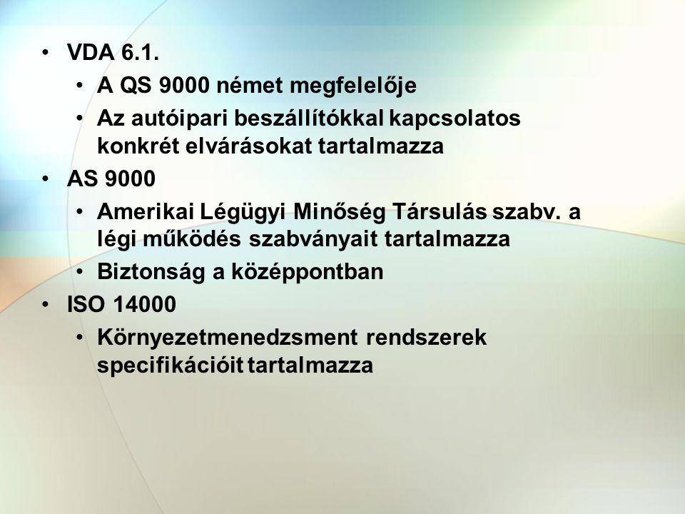 VDA 6.1. A QS 9000 német megfelelője. Az autóipari beszállítókkal kapcsolatos konkrét elvárásokat tartalmazza.