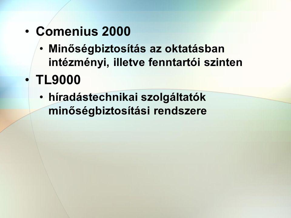 Comenius 2000 Minőségbiztosítás az oktatásban intézményi, illetve fenntartói szinten. TL9000.