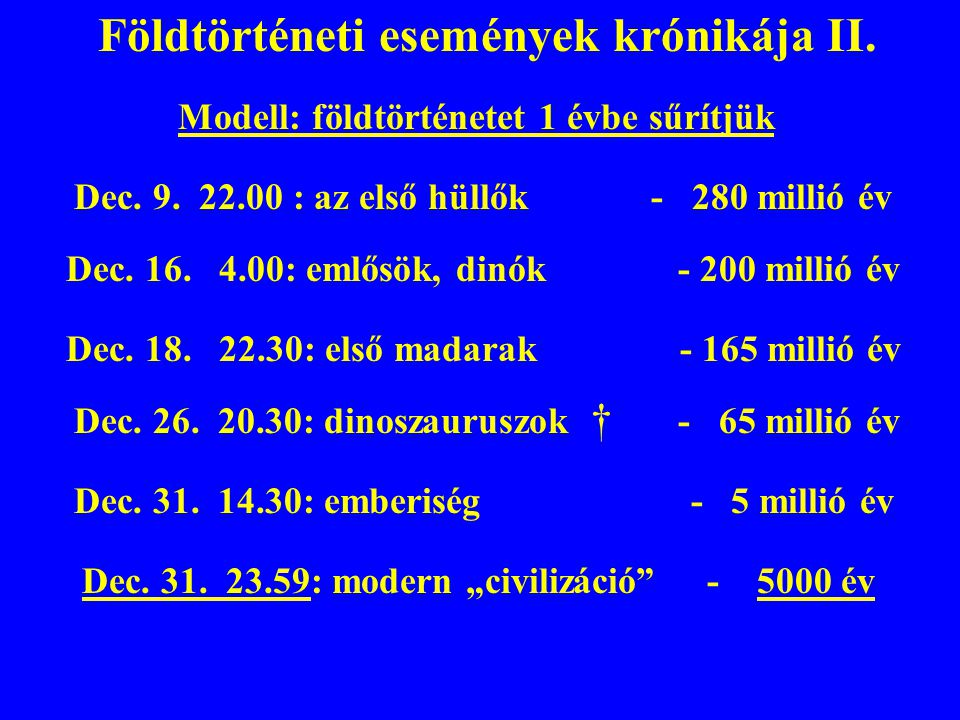 Földtörténeti események krónikája II.