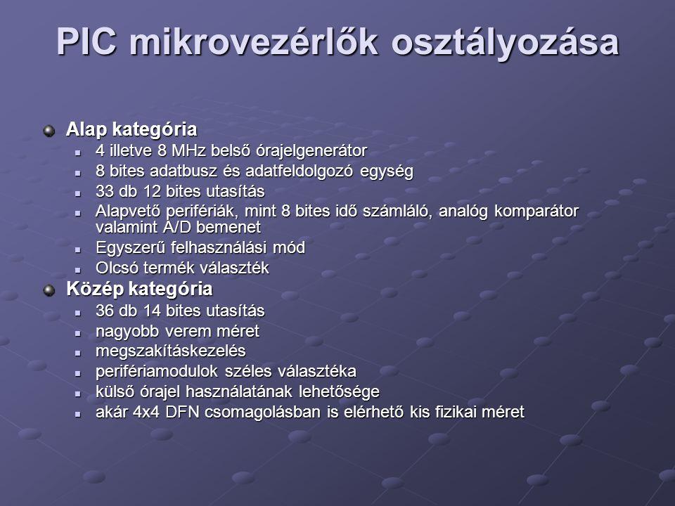 PIC mikrovezérlők osztályozása