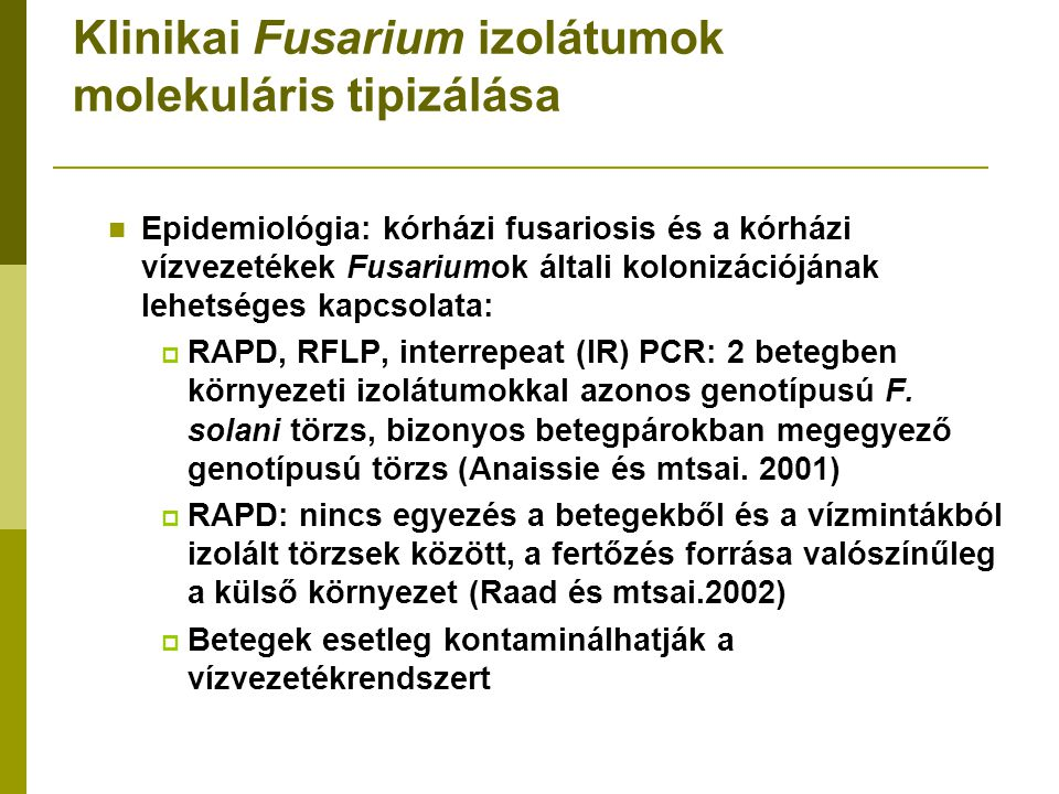 Klinikai Fusarium izolátumok molekuláris tipizálása