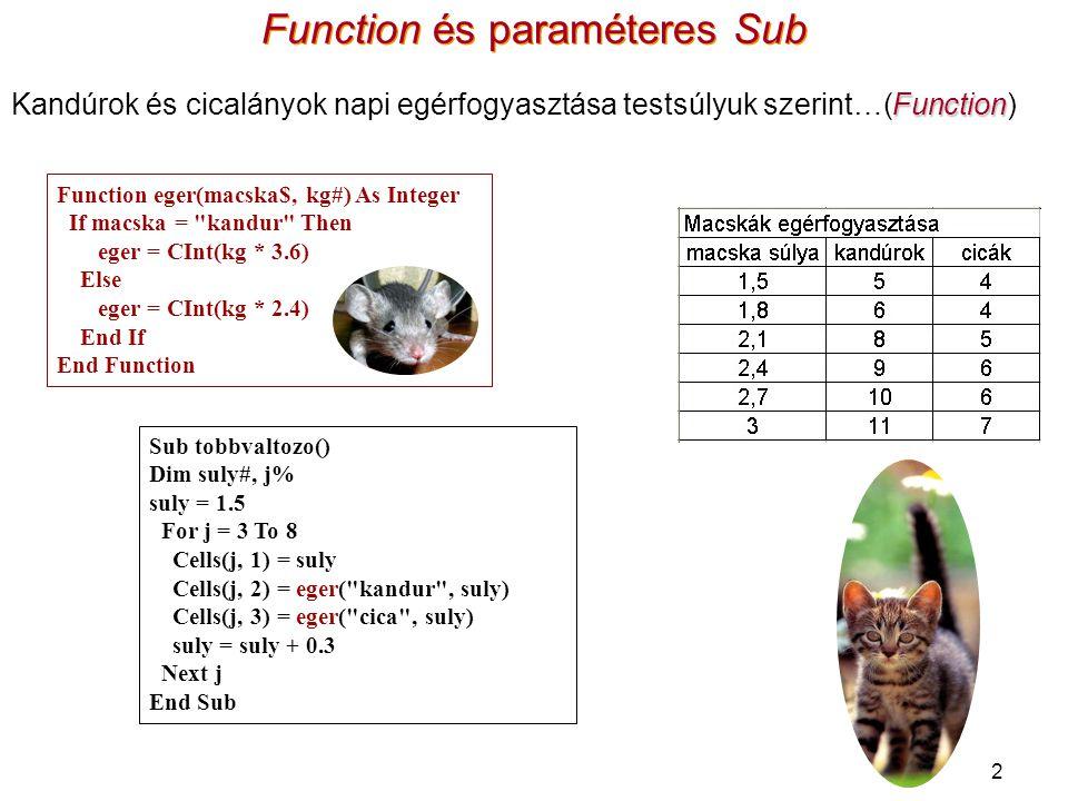 Function és paraméteres Sub