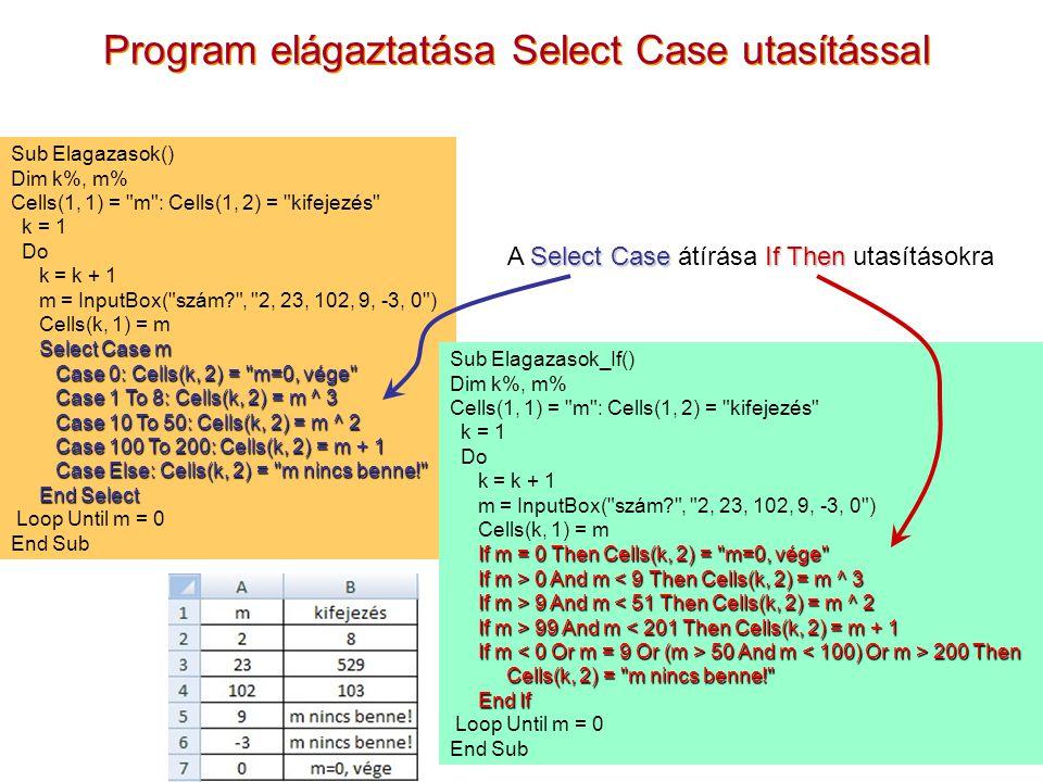 Program elágaztatása Select Case utasítással