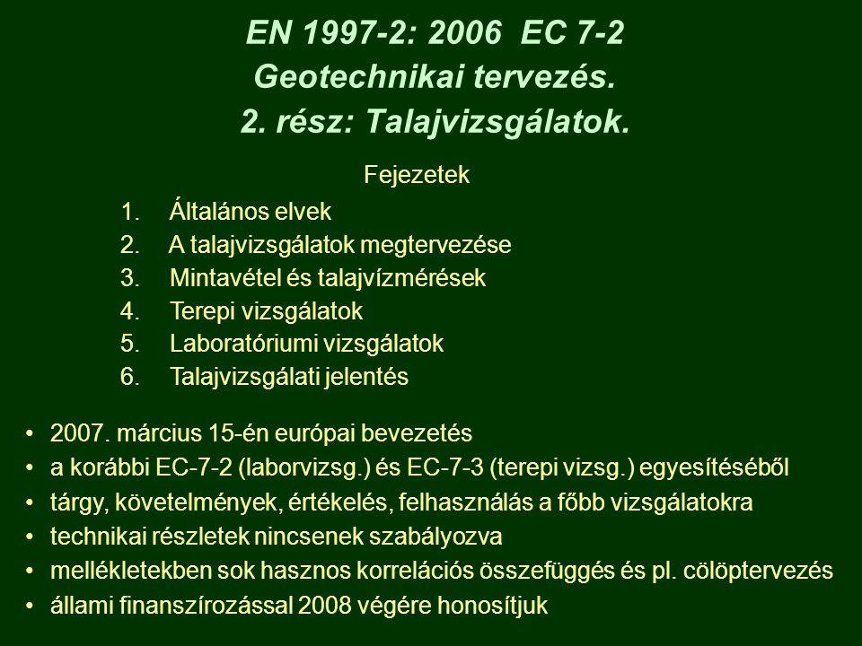EN 1997-2: 2006 EC 7-2 Geotechnikai tervezés. 2. rész: Talajvizsgálatok.