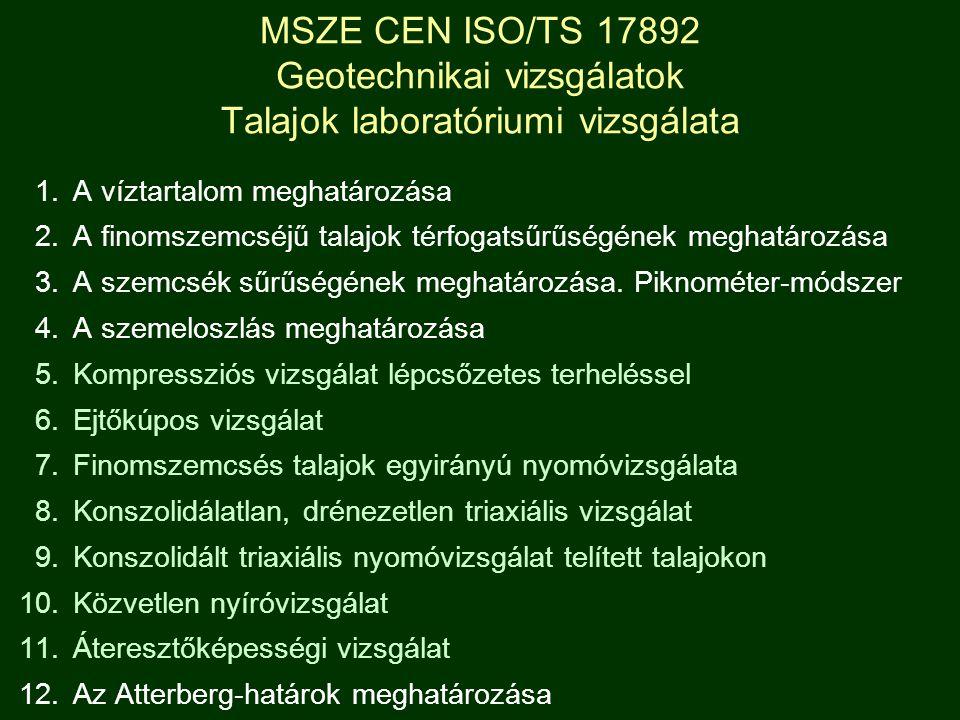 MSZE CEN ISO/TS 17892 Geotechnikai vizsgálatok Talajok laboratóriumi vizsgálata