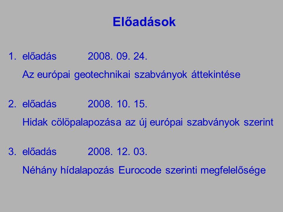 Előadások előadás 2008. 09. 24. Az európai geotechnikai szabványok áttekintése. előadás 2008. 10. 15.
