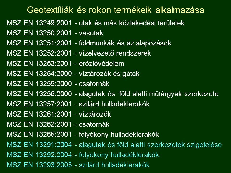 Geotextíliák és rokon termékeik alkalmazása