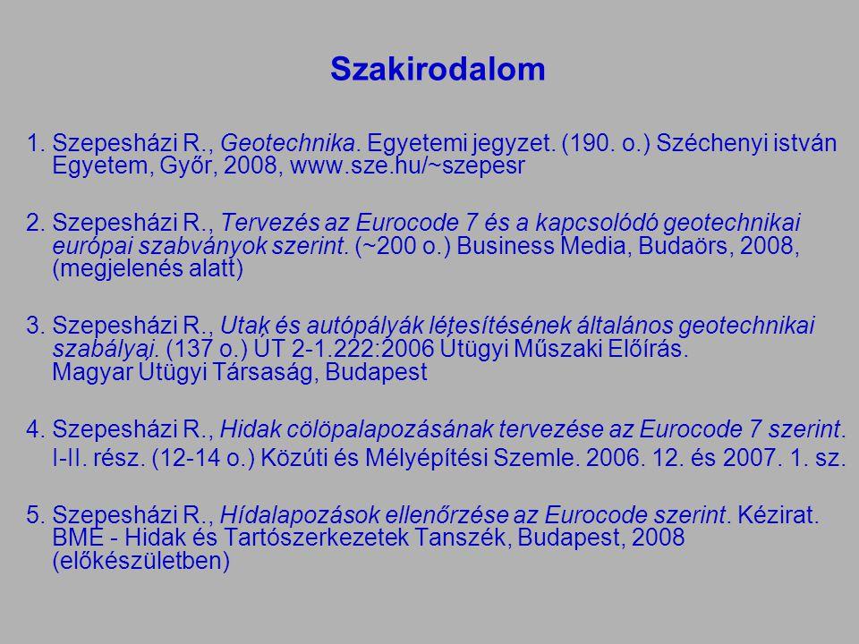 Szakirodalom Szepesházi R., Geotechnika. Egyetemi jegyzet. (190. o.) Széchenyi istván Egyetem, Győr, 2008, www.sze.hu/~szepesr.