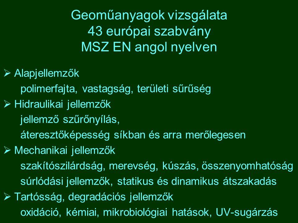 Geoműanyagok vizsgálata 43 európai szabvány MSZ EN angol nyelven