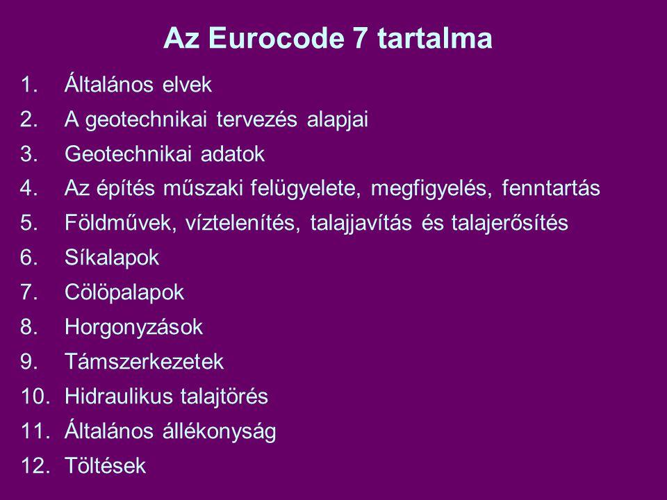 Az Eurocode 7 tartalma 1. Általános elvek