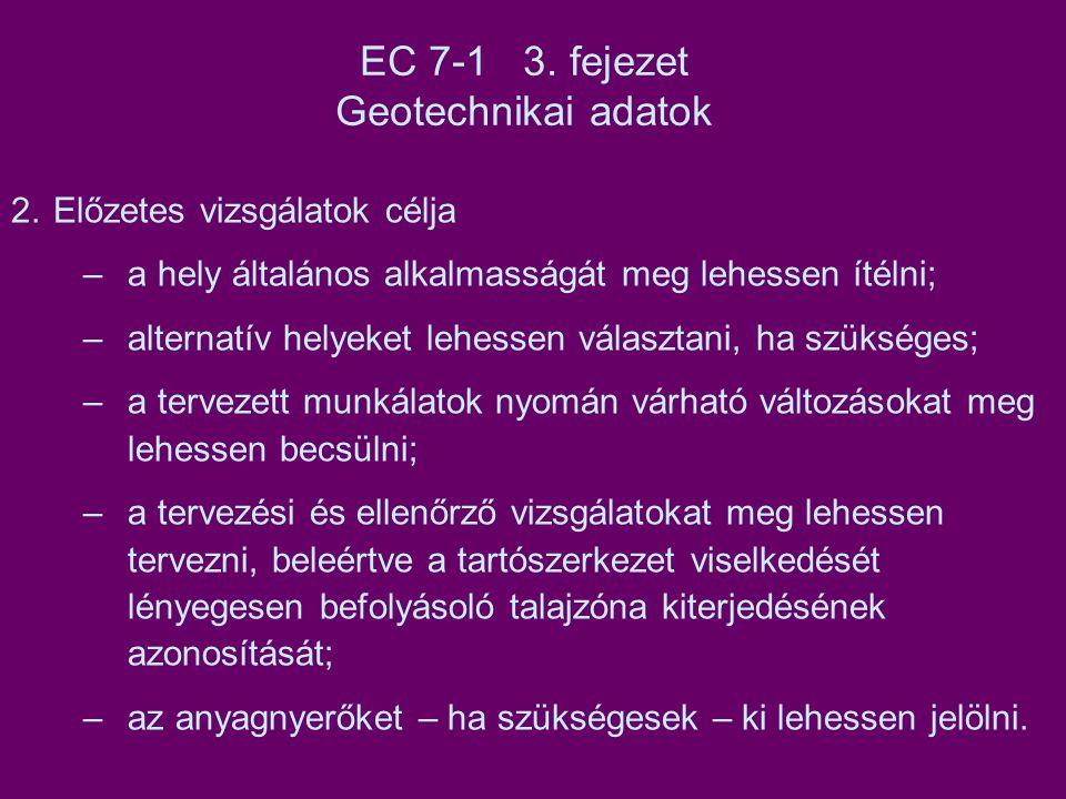 EC 7-1 3. fejezet Geotechnikai adatok
