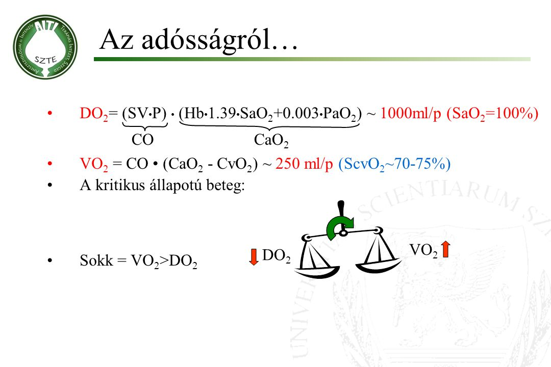 Az adósságról… DO2= (SV•P) • (Hb•1.39•SaO2+0.003•PaO2) ~ 1000ml/p (SaO2=100%) VO2 = CO • (CaO2 - CvO2) ~ 250 ml/p (ScvO2~70-75%)