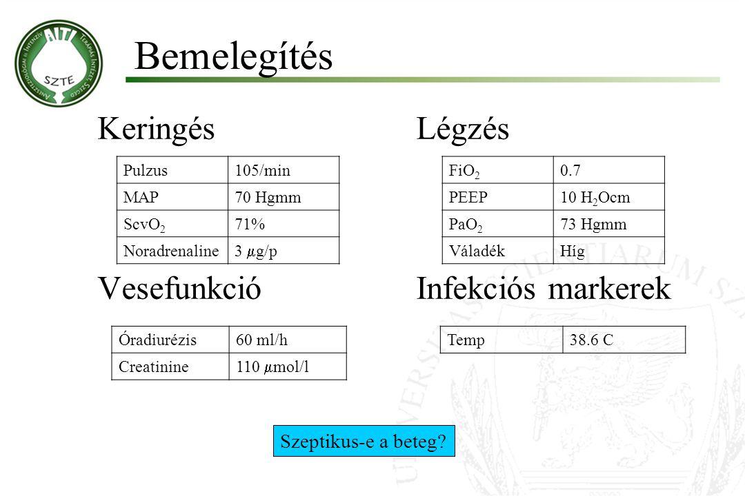 Bemelegítés Keringés Légzés Vesefunkció Infekciós markerek