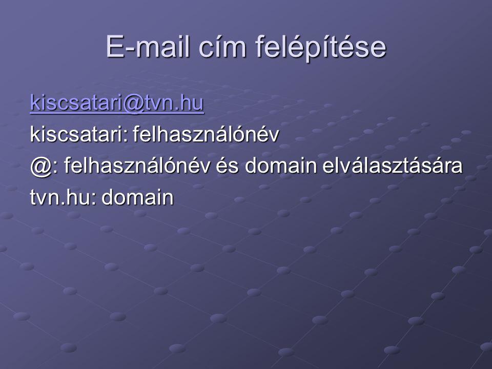 E-mail cím felépítése kiscsatari@tvn.hu kiscsatari: felhasználónév