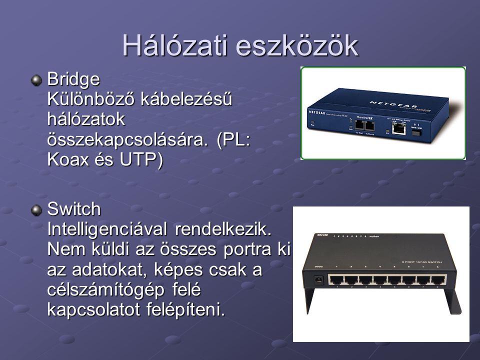 Hálózati eszközök Bridge Különböző kábelezésű hálózatok összekapcsolására. (PL: Koax és UTP)