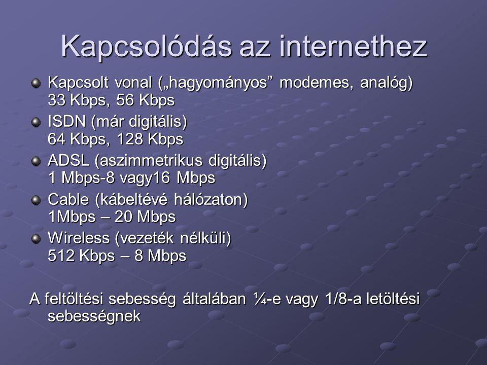 Kapcsolódás az internethez