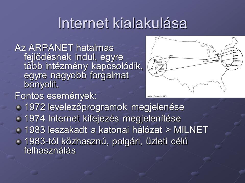 Internet kialakulása Az ARPANET hatalmas fejlődésnek indul, egyre több intézmény kapcsolódik, egyre nagyobb forgalmat bonyolít.