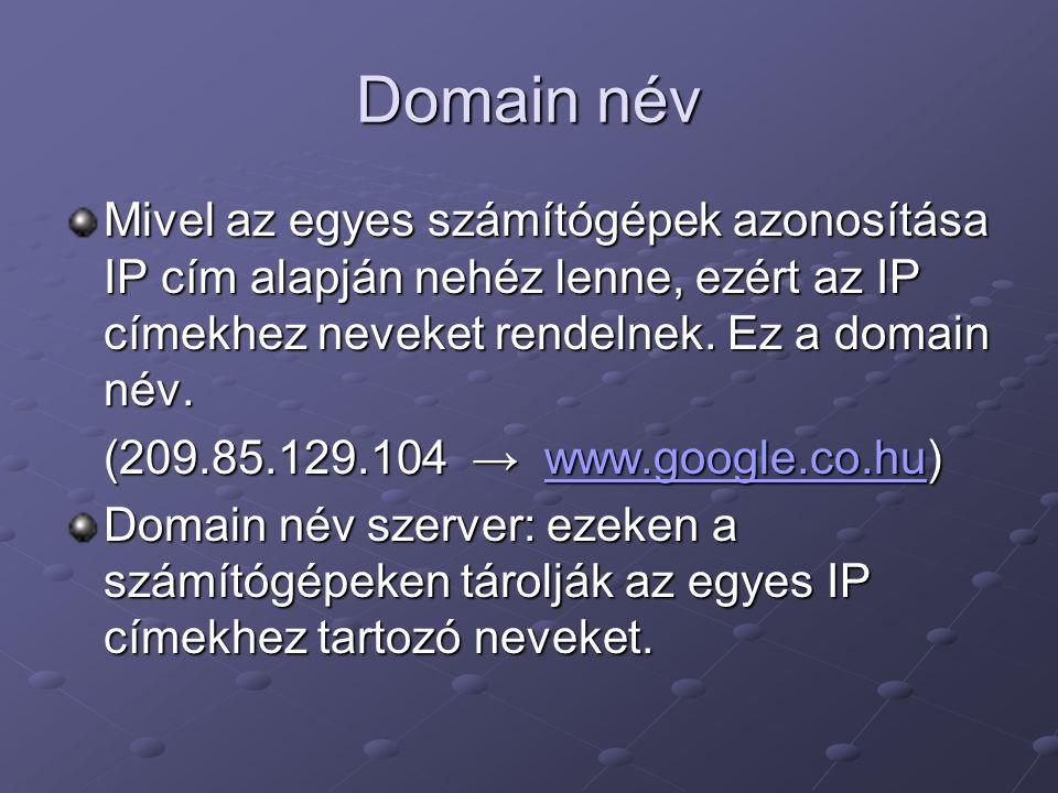 Domain név Mivel az egyes számítógépek azonosítása IP cím alapján nehéz lenne, ezért az IP címekhez neveket rendelnek. Ez a domain név.