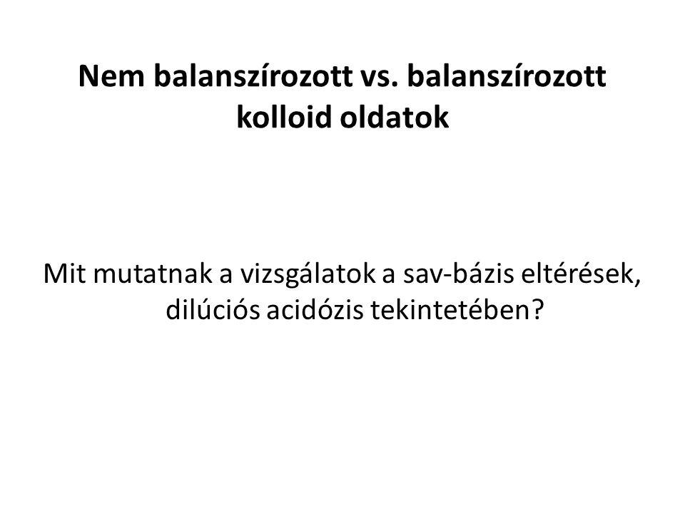Nem balanszírozott vs. balanszírozott kolloid oldatok