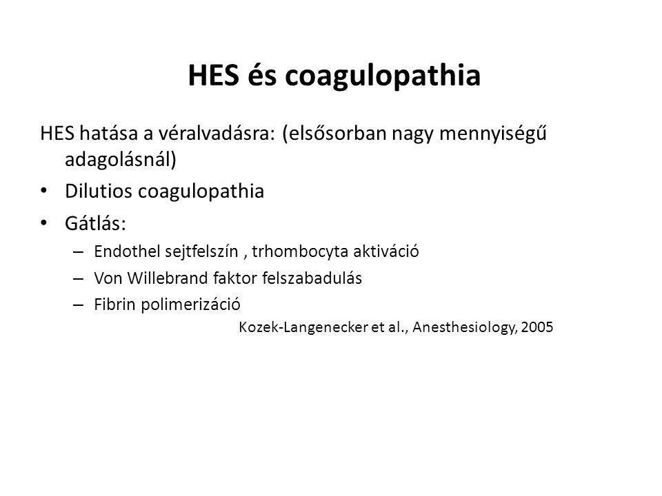 HES és coagulopathia HES hatása a véralvadásra: (elsősorban nagy mennyiségű adagolásnál) Dilutios coagulopathia.