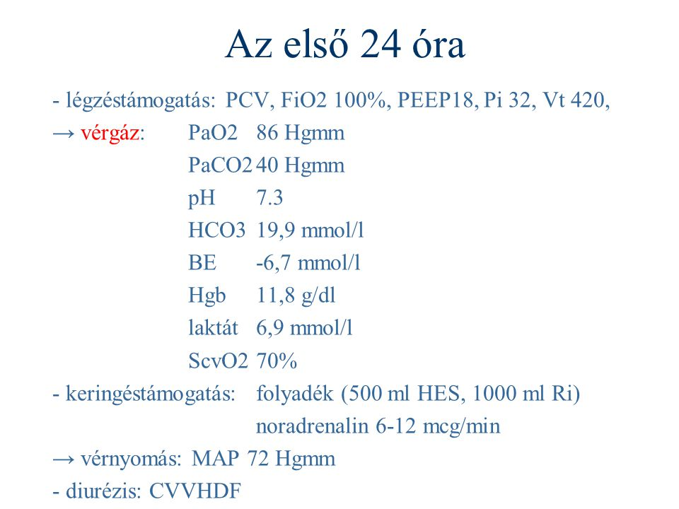 Az első 24 óra - légzéstámogatás: PCV, FiO2 100%, PEEP18, Pi 32, Vt 420, → vérgáz: PaO2 86 Hgmm. PaCO2 40 Hgmm.