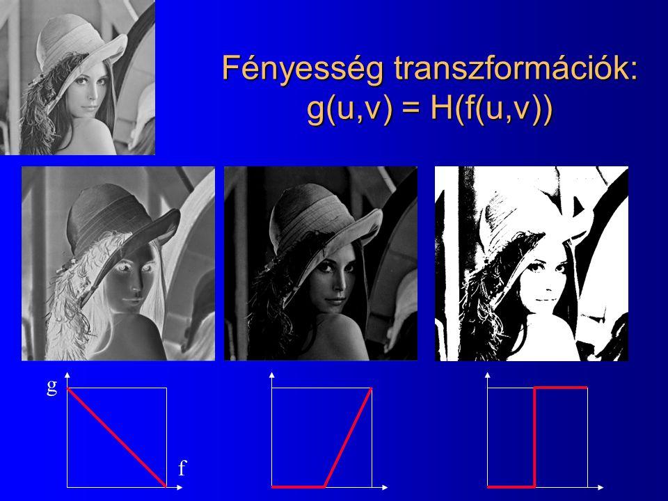 Fényesség transzformációk: g(u,v) = H(f(u,v))