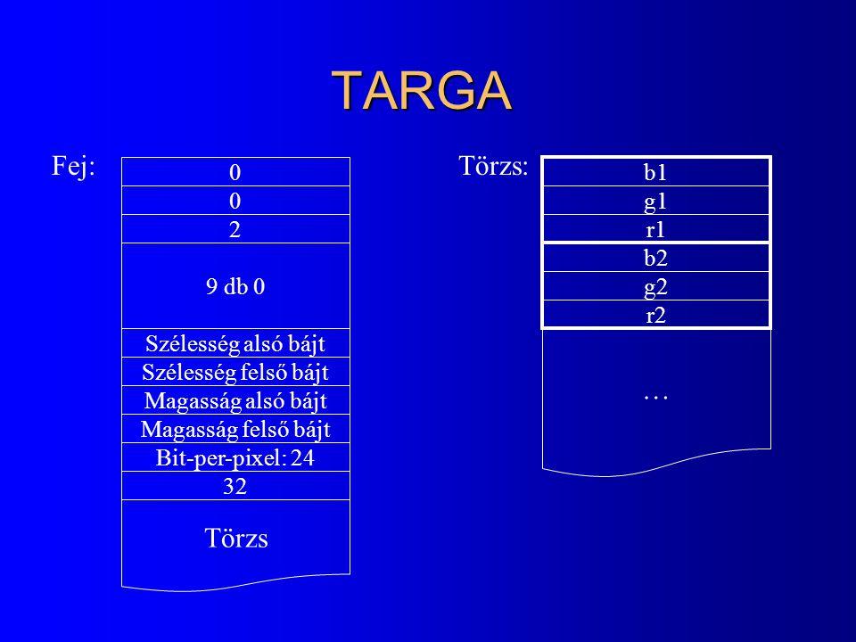 TARGA Fej: Törzs: … Törzs b1 g1 2 r1 9 db 0 b2 g2 r2